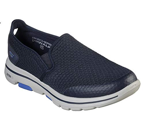 Skechers Men's Go Walk 5 Apprize Slip On Trainers, Blue (Navy Textile/Synthetic/White Trim Nvy), 8.5 UK (43 EU)