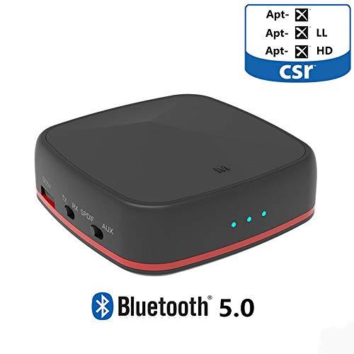 POWERFULM Adaptador del Receptor de Bluetooth 5.0 Transmisor aptX HD/Baja latencia de Audio Bluetooth para la TV portátil PC del Coche Habla Amplificador