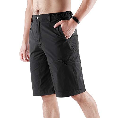 KUTOOK Pantaloni Trekking Estivi Traspirante da Uomo Resistente Impermeabile Pantaloni da MTB Escursionismo Montagna Arrampicata Outdoor(Nero,L)