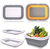 lootaan 2 Pack Collapsible Sink with 2.9Gal / 11L Each Wash Basin, Collapsible Dish Tub/Camp Sink/Bucket with Sturdy Handle for Washing Dishes, Camping, Hiking and Home