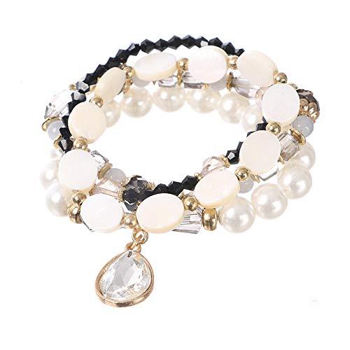 Legierung Perlen Armband Für Frauen,Bracelet Maille Multicouche Bracelet Bohème Noir Fashion Perles Crystal Pearl Bracelet Pendentif Goutte D'Eau En Alliage Bijoux De Mode Féminine Accessoires Vêt