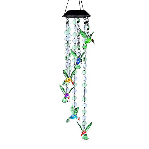 AceList Changing Color Hummingbird+Bead Wind Chime, Spiral Spinner Windchime Portable Outdoor Decorative Romantic Windbell Light for Patio, Deck, Yard, Garden, Home, Pathway