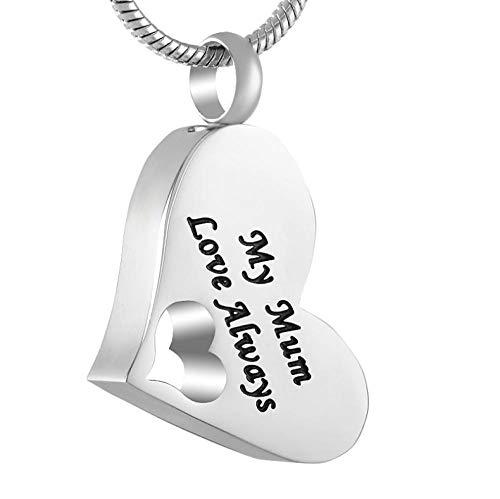 GenericBrands My Mom Love Always Cremación Urna Colgante Corazón Hueco Memorial Ceniza Collar de Recuerdo Soporte de Ceniza