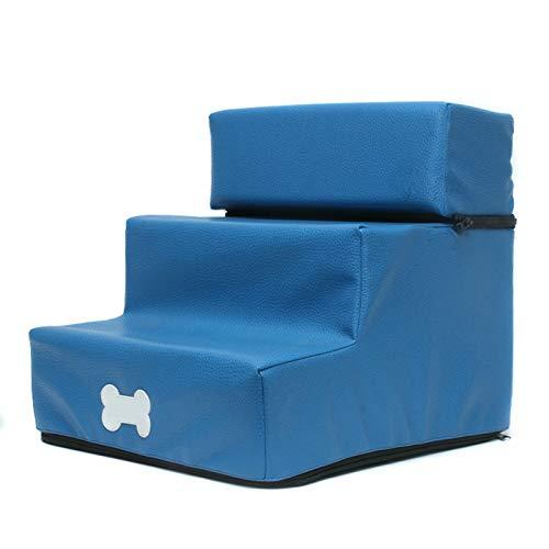 Finetoknow Escalera de perro para mascotas de piel / malla escalones para perro desmontable de 3 pisos, escalera lavable para gatos y perros