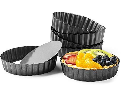 Quiche patelnie 6 szt./zestaw, komercyjne nieprzywierające zdejmowane dno 5-calowe mini patelnie do tart (5 cali)