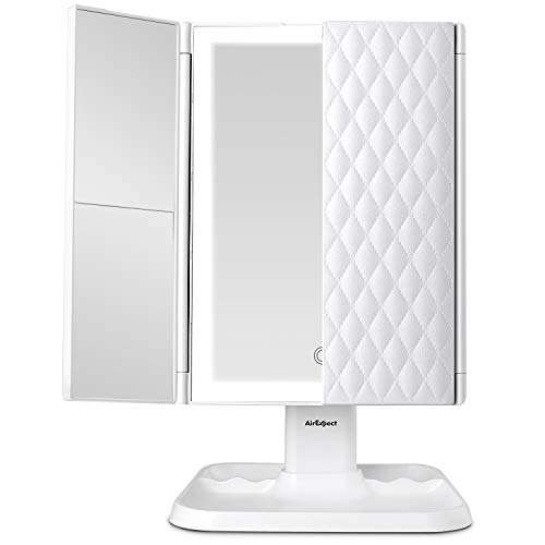 Makeup Mirror Vanity Mirror with Lights - 3 Color Lighting Modes 72 LED Trifold Mirror, Touch...