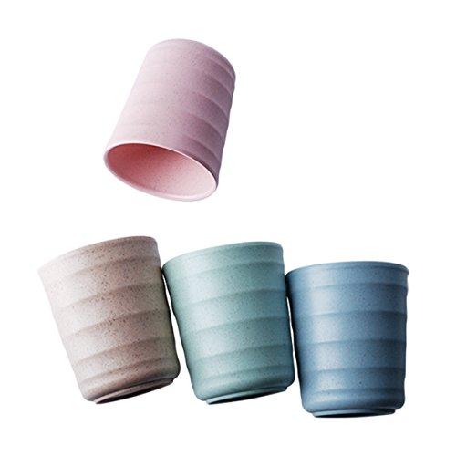 UPSTYLE - Taza de plástico de bambú biodegradable y respetuosa con el medio ambiente, con pajita de trigo para usar con agua, café, leche, zumo, etc., Paja de trigo, Color 3, 200 ml