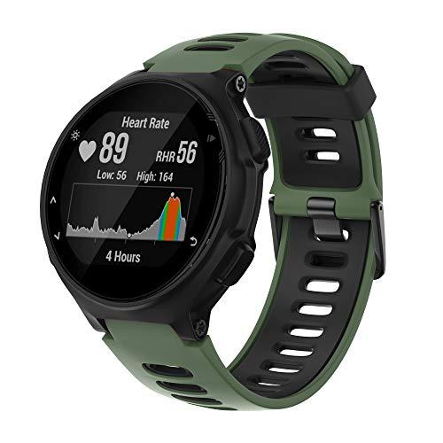 ANBEST Sportarmband für Garmin Forerunner 235/220/230/620/630/735XT Smart Watch Silikon Ersatz Uhrenarmband für Approach S20/S5/S6 Ersatzarmband(Armee Grün/Schwarz)