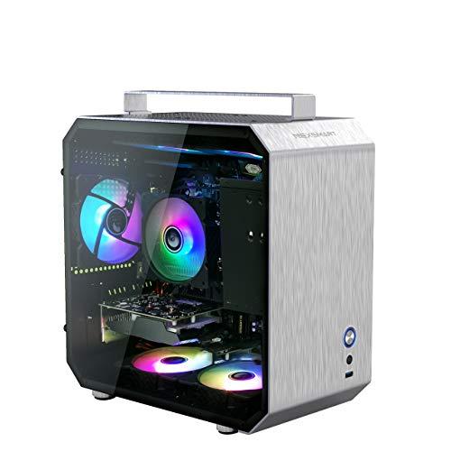 Gaming PC de jeu de bureau NEXSMART - AMD 3100 3,6 GHz-3,9 GHz, DDR3 8 Go de RAM AMD RX550 4 Go 256 Go SSDAluminum Alloy Panel 6 ventilateurs RVB Windows 10 Wireless WiFi Gaming Case installé