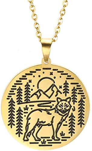 LLJHXZC Collar Collares de Moda para Mujeres Hombres Joyas de Acero Inoxidable Grabado láser Animal Lobo Serpiente Camping Collares Pendientes 52cm