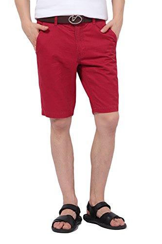 Pau1Hami1ton Herren Chino Bermuda Shorts Kurze Hose Baumwolle PH-01(38, Red)
