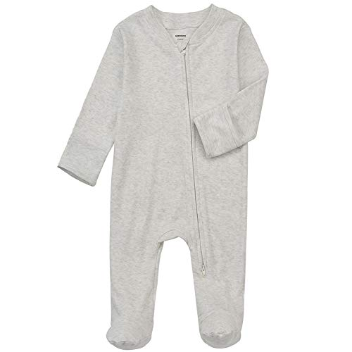 Baby Footed Pajamas with Mitten Cuffs - Unisex Double Ways Zipper Cotton Footie Onesies Infant Solid Color Sleep 'n Play Jammies (Light Grey, 3-6m)
