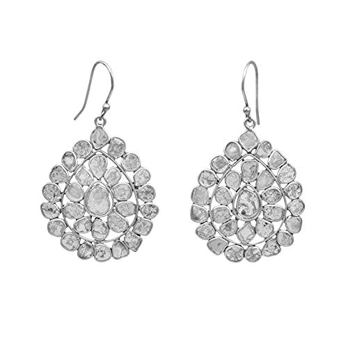 4.50 Ctw Pendientes de belleza ártica con gota de diamante natural Polki - Plata de ley 925 bañada en rodio - Joyería contemporánea moderna