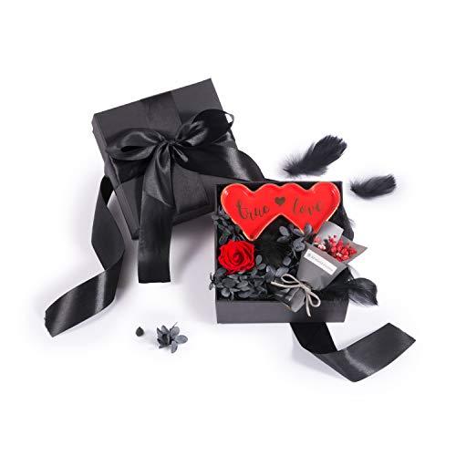 Edens Box: Kreatives handgefertigtes Geschenk, Geburtstag/Festival-Box für Freundin/Ehefrau/Freundin/Mutter, roter Schmuckteller, konservierte frische Rose, Mini-Strauß