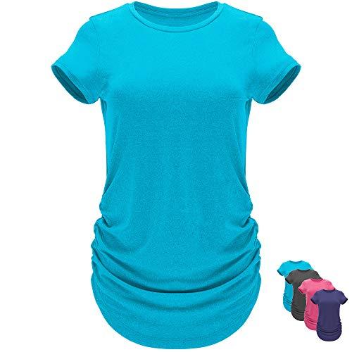 GO HEAVY Damen Multifunktions Work-Out Running T-Shirt Kurzarm Tennisshirt Seiten Plissiert Feutigkeitsregulierdend Türkis L