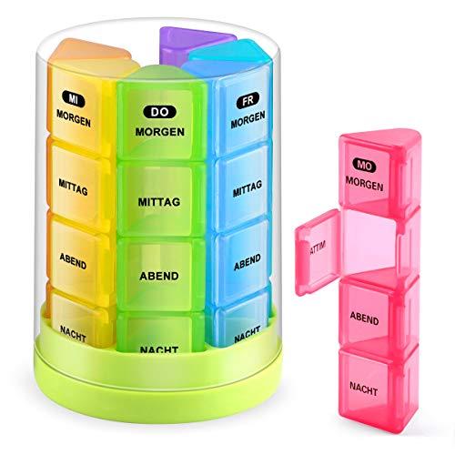Tablettenbox 7 Tage 4 Fächer- BUG HULL Medikamentenbox Pillendose Morgens Mittags Abends Nachts Rund