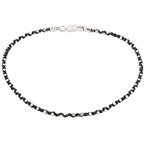 Aleksander Sternen La Barca Damen-Armband Kugelarmband Sterling-Silber 925 rhodiniert rutheniert schwarz 21cm