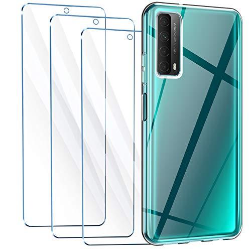 Leathlux Cover Compatibile con Huawei P Smart 2021 Trasparente con 3 Pellicola Vetro Temperato, Morbido Silicone Protettivo Bumper TPU Gel Smartphone Custodia Case