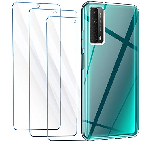 Leathlux Funda Huawei P Smart 2021 + 3 x Protector de Pantalla Huawei P Smart 2021, Transparente TPU Silicona Funda + Cristal Vidrio Templado Protector de Pantalla y Carcasa Huawei P Smart 2021