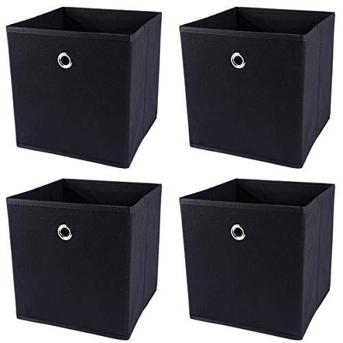Anladia 4 Stück Schwarz Faltbare Aufbewahrungsbox 27x27x28cmFaltbox mit Fingerloch/Metallgriff ohne Deckel für Raumteiler Regale