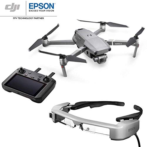DJI Mavic 2 Pro mit Smart Controller + Epson Moverio BT-35E FPV Glasses - Enthält Drohne mit 20 MP Kamera + 5,5 Zoll Display + Smart 3D Stereoscopic Brille für FPV