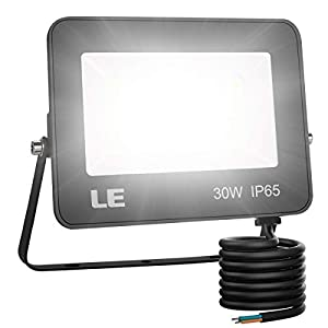 LE Foco LED de 30W, 3000 lúmenes, IP65 resistente al agua, Foco LED Exterior, Blanco Frío 5000 K, Ángulo de haz 120°, Foco Proyector LED para Jardín, Garaje, Hotel, Patio, etc.
