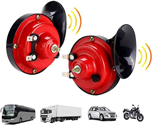 【2 Pack】 300DB Super Loud Train Horn for Truck Train Boat Car Air Electric Snail Single Horn, 12v Waterproof Double Horn Raging Sound Raging Sound for Car Motorcycle