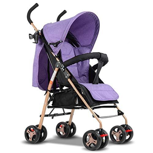 Les poussettes de bébé 2 en 1 ultra-légères se plient peuvent s'asseoir peuvent s'allonger haut paysage parapluie bébé chariot de voyage système poussettes (Color : Purple)