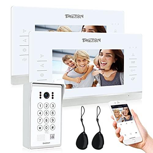 TMEZON WiFi IP Videoportero Sistema de intercomunicación,2 * 7 pantalla zoll y 1 timbre con cable, Desbloqueo de aplicación/contraseña/tarjeta/Monitor 4 en 1, Instantánea/Grabación