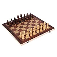 チェスセット、収納スペースと収納バッグ付きの磁気木製チェス、子供用の折りたたみ式トラベルチェスボード、ギフト、ゲーム