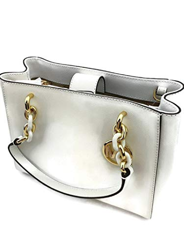 "Optic White Saffiano Leather gold hardware approx Measurements: H 8"" L top 8"" and bot 9.5"" W 3.5"""