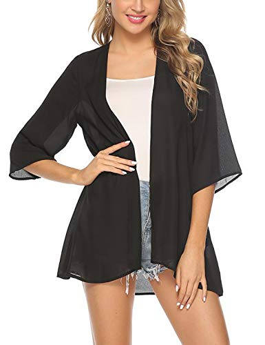Aibrou Women's Floral Kimono Cardigans3/4 Sleeve Tops Loose Floral Blouse Casual Boho Style Capes(Negro slido S)