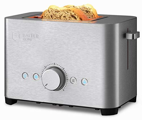 Balter Toaster 2 Scheiben ✓ Brötchenaufsatz ✓ Auftaufunktion ✓ Brotzentrierung ✓ Krümelschublade ✓ Edelstahlgehäuse ✓ Farbe: Silber