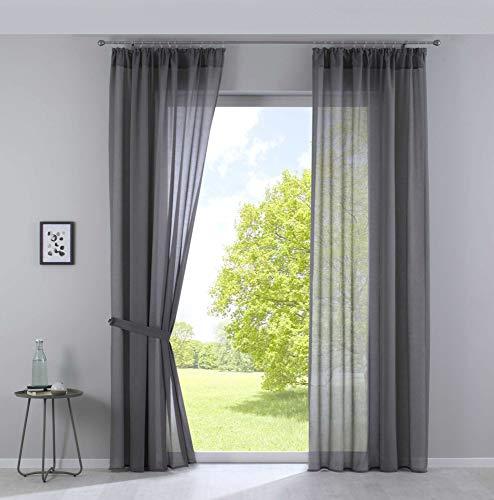 2er Set Gardinen »Nizza« Baumwoll-Voile Halbvoile HxB 254x135 cm Grau Transparent Stores mit Gardinenband und Tuneldurchzug, 2019031-2