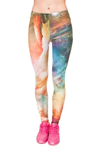 Kukubird Printed Patterns Women's Yoga Leggings Gym Fitness Running Pilates Tights Skinny Pants Size 6-10 Stretchable-GalaxyRainbow