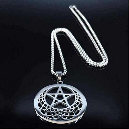 AOAOTOTQ Co.,ltd Collar Sun Moon Pentagram Acero Inoxidable Collares de Color Plateado Collar de Mujer Collar con Colgante de joyería para Mujeres y Hombres