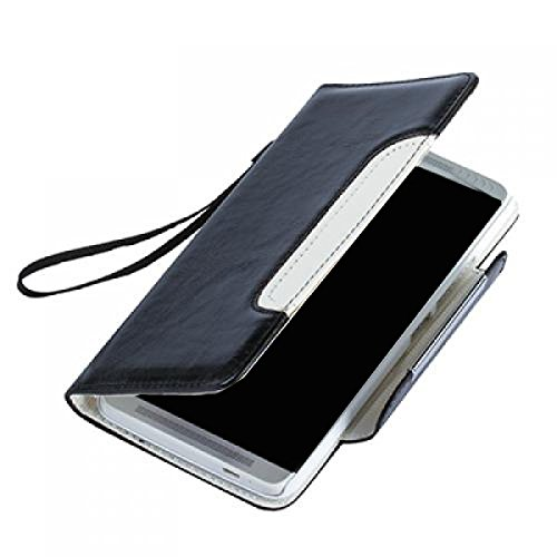 Huawei Ascend Y200 Hülle, numia Handyhülle Handy Schutzhülle [Book-Style Handytasche mit Standfunktion und Kartenfach] Pu Leder Tasche für Huawei Ascend Y200 Case Cover [Schwarz-Weiss] - 5