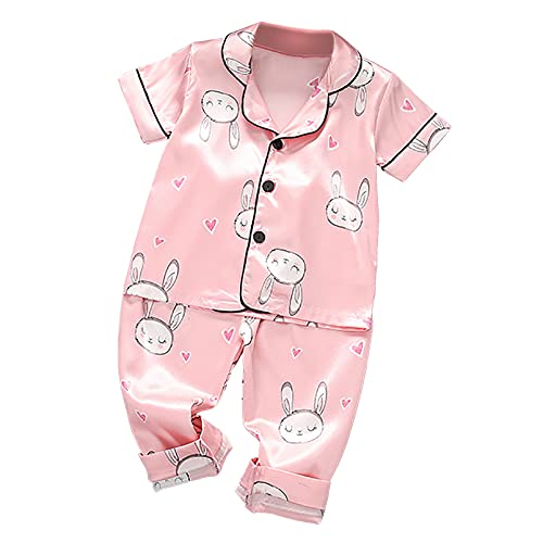 Aislor Pijamas Bebé Niñas Pijama de Seda Cómodo Verano Ropa de Dormir Dos Piezas para Recien Nacidos Pijama Estampado de Dibujos Lindos Sleepwear Rosa 2-3 años