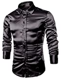 ARJOSA Men's Satin Business Casual Club Shiny Long Sleeve Slim Fit Dress Shirt (Medium, Black)