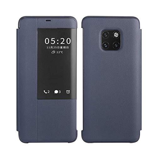 SevenPanda Smart Telefonkasten für Huawei Mate 20, Litchi Lederabdeckung Fensteransicht Automatisches Aufwachen/Schlafen Intelligenter Flip Rutschfester Ständer Hülle für Huawei Mate 20 - Blau