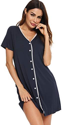 Vlazom Damen Nachthemd Damen Schlafanzug Pyjama Sommer Nachtwäsche Umstandskleidung Damen Geburt Stillnachthemd mit Durchgehender Knopfleiste(M,Dunkelblau)