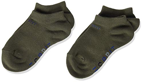 Esprit K SN Foot Logo 2-Pack, Calcetines Tobilleros Unisex Niños, Algodón orgánico, Verde (Thyme 7821), 23-26 (Pack De 2 Pares)