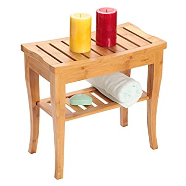 Bamboo Shower Bench Chair Seat with Storage Shelf, Vanity Stool Chair, For Indoor Or Outdoor
