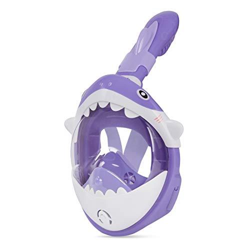 Glymnis Máscara de Buceo para Niños 180° Máscara Snorkel Anti-Fuga Gafas Cara Completa Linda Forma con Agente Antivaho Tamaño Universal para Todos Niños Púrpura