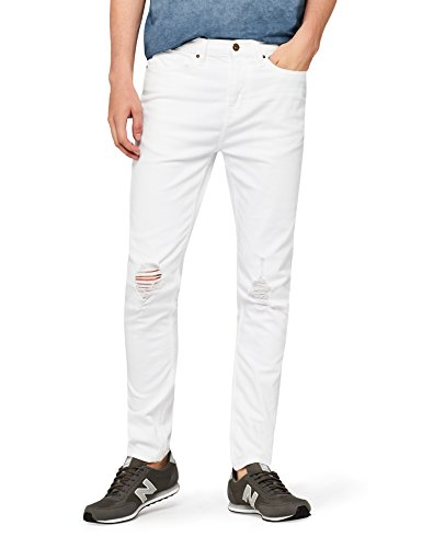 Marchio Amazon - find. Jeans Skinny Uomo, Bianco (White), 44W / 32L, Label: 44W / 32L