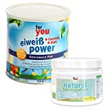 for you Power Eiweiß Pur + natural Basenpulver im Set I 1x 750g Fitness Eiweisspulver mit Carnitin...