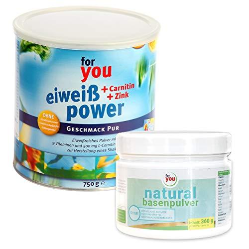 for you Power Eiweiß Pur + natural Basenpulver im Set I 1x 750g Fitness Eiweisspulver mit Carnitin Whey-Protein Sojaprotein Milchprotein I 1x 360g Basen Citrat Getränkepulver