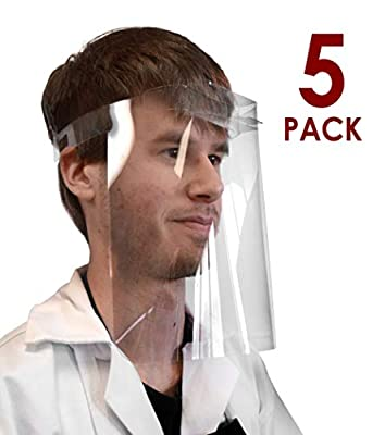 5PK Emergency Temporary Face Shield - PET Plastic - 100% Recyclable - Size Adjustable, Fits Head Circumference of 20-28 Inches - Forehead Bumper - Made in The USA - hBARSCI