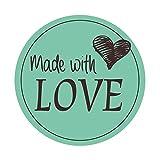 easydruck24de 48 Aufkleber Made with Love Mint I dv_589 I Mit Liebe selbst gemacht I...
