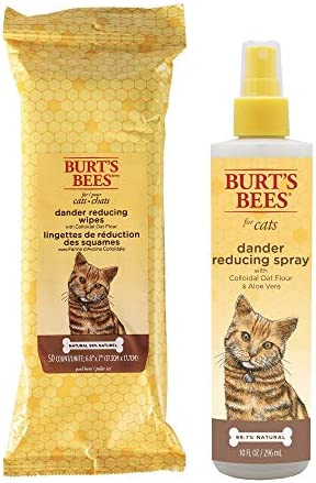 Combo Pack Burt s Bees for Cats Grooming Wipes and Dander Reducing Spray with Colloidal Oat product image